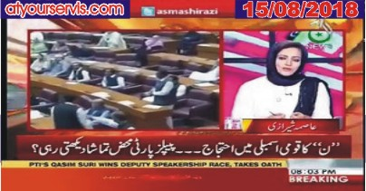 15 Aug 2018 - PMLN Protest in National Assembly