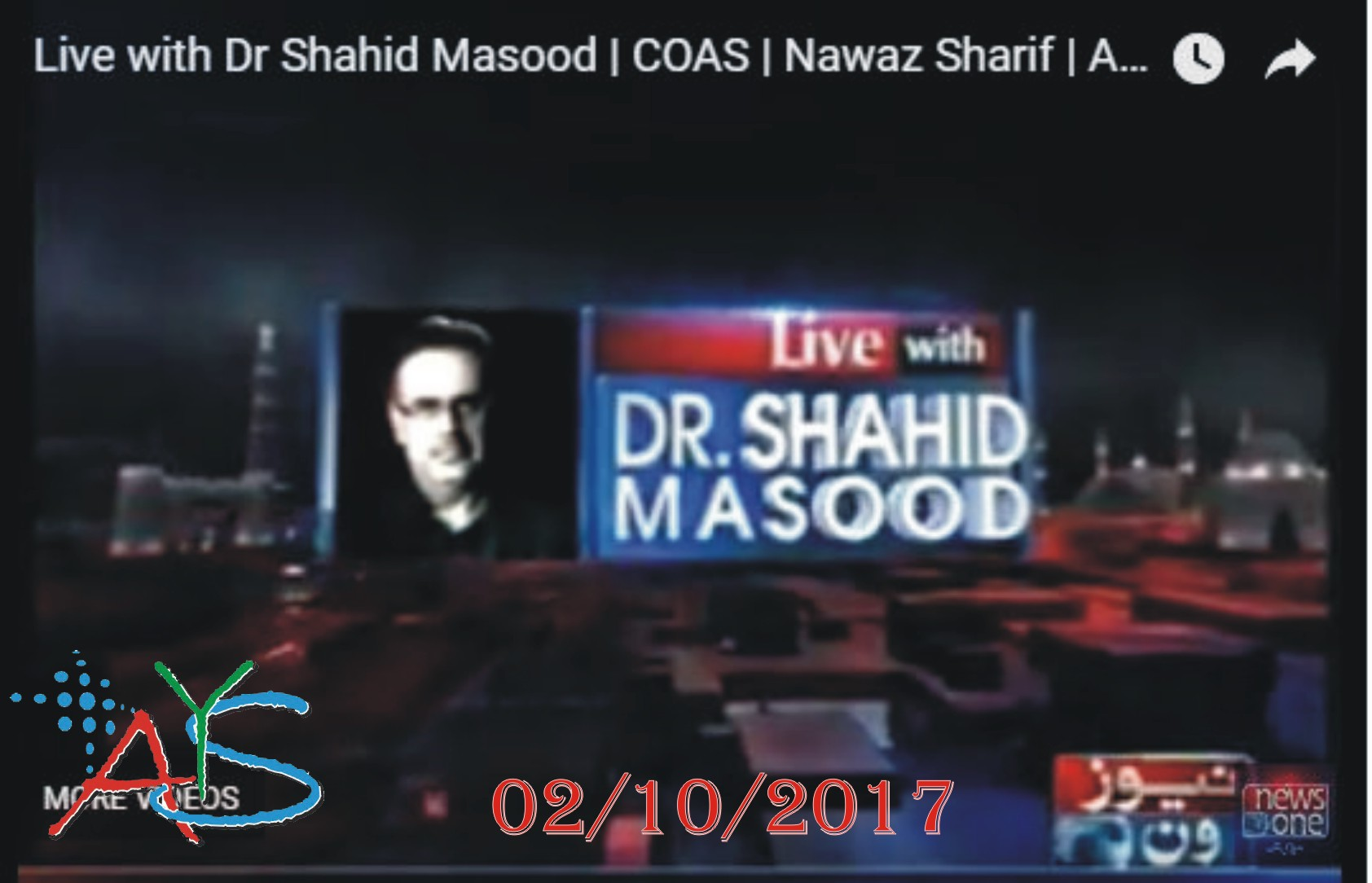 02 Oct 2017 - Live With Dr Shahid Masood – 2nd October 2017 - NAB court adjourns hearing of corruption references against Nawaz